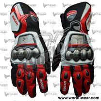 Ducati Motorbike Racing Leather Gloves