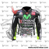Valentino Rossi Black Yamha Motogp Movistar Leather Racing Jacket