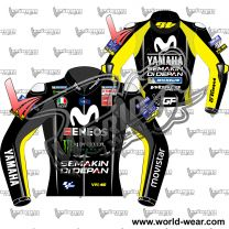 Valentino Rossi Yamaha Movistar MotoGP 2018 Black Leather Jacket