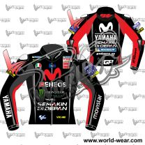 Valentino Rossi Yamaha Movistar MotoGP 2018 Red Leather Jacket
